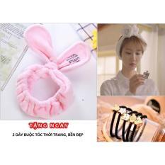 Băng đô tóc tai thỏ Cool Enough Studio (hồng) + tặng 2 dây buộc tóc thời trang