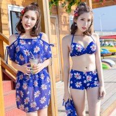 Bikini 2 Mảnh + Váy hoa tôn dáng (Xanh)