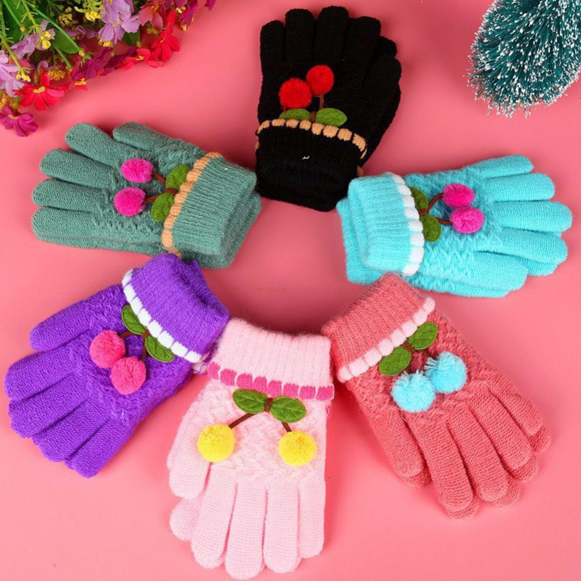 Bộ 02 đôi gang tay len mùa đông cho bé gái - màu ngẫu nhiên