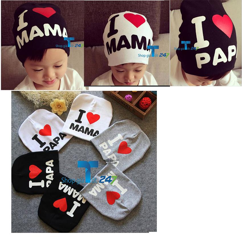 Bộ 02 mũ cotton I love Mama (Trắng)