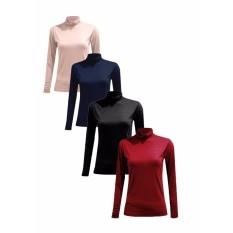 Bộ 2 áo giữ nhiệt cổ lọ nữ Chipxinhxk (đô+tím than)