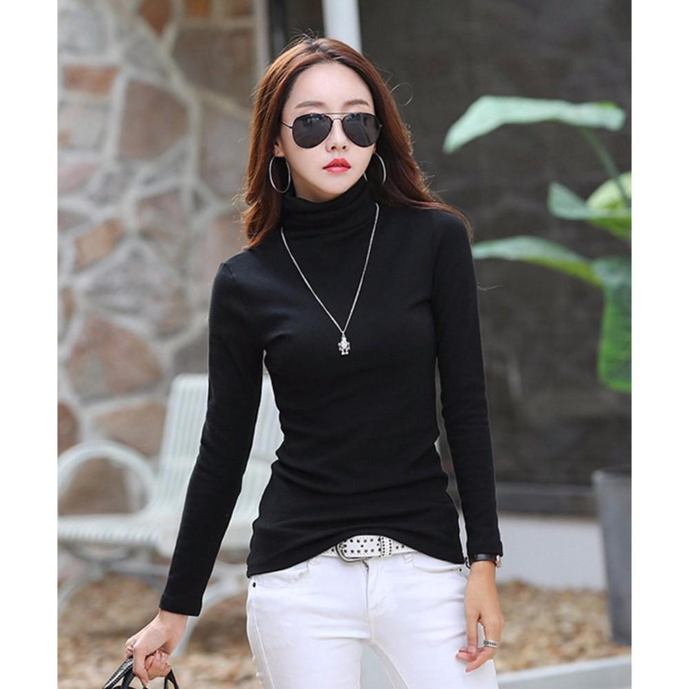 Bộ 2 áo giữ nhiệt lót nỉ trơn thời trang (trắng+ đen)