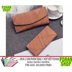 Bộ 2 Ví Cầm Tay Sang Trọng POHAN 2V2 (Nâu)- tặng ví khi mua 2 SP