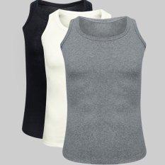 Bộ 3 áo thun ba lỗ nam Navi Đen trắng xám