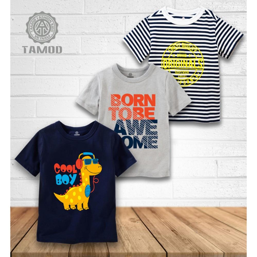 Bộ 3 áo thun bé trai sành điệu thương hiệu cao cấp TAMOD