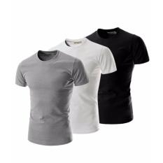Bộ 3 áo thun nam body cổ tròn 100% COTTON mềm mịn ( đen, trắng, xám )