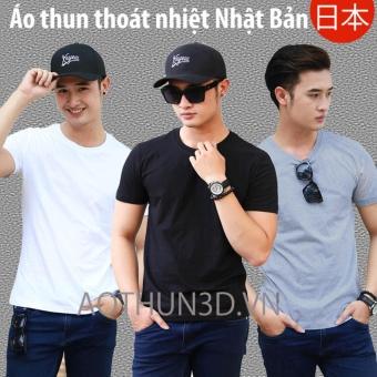 Bộ 3 áo thun nam trơn, áo phông nam Thoát Nhiệt Nhật Bản (Đen, Trắng, Xám tiêu) - 2