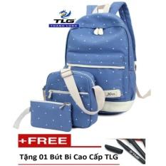 Bộ 3 ba lô thời trang phong cách Đồ Da Thành Long TLG HQ205966-2 (Xanh nhạt) tặng 01 bút bi cao cấp TLG
