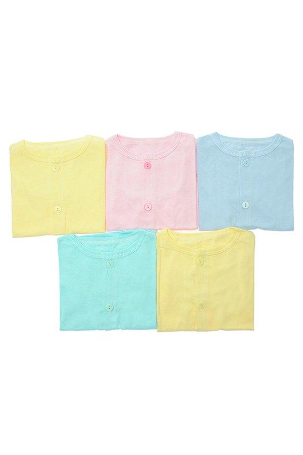 Bộ 5 áo cài giữa TD màu bo Nanio AN004 (Hồng Vàng Xanh Biển Xanh Ngọc)