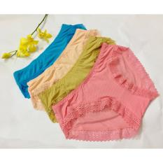quan lot nu Bộ 5 quần lót nữ thông hơi viền ren dưới 55kg 5NO6014