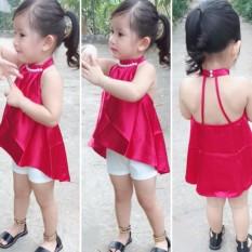 Bộ áo cổ yếm quần thun ôm co giãn cực điệu cho bé gái