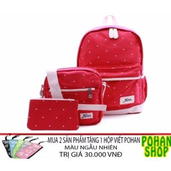 Bộ ba ba lô + túi đeo chéo + ví nhỏ PH6 (Đỏ) - tặng quà khi mua 2 Set SP