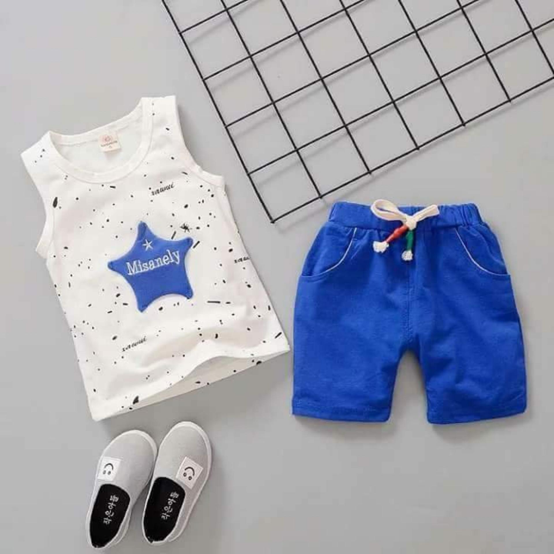bộ cotton sát nách ngôi sao xanh bé trai