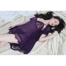 Bộ đầm ngủ kèm áo voan lưới cao cấp thời trang (Tím sẫm)