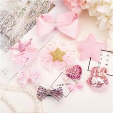Bộ hộp quà kèm 10 kẹp tóc cho bé gái – màu hồng