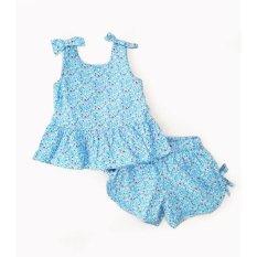 Bộ Kate vải hoa xanh bé gái (1-7 tuổi)
