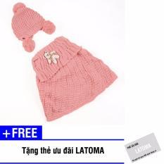 Bộ mũ len và áo quây bé gái Latoma S1403 (Hồng) + Tặng kèm thẻ ưu đãi Latoma