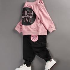 Bộ quần áo bé gái dài tay in hình HIGH FIVE thời trang – BG02 (Áo hồng – quần đen)
