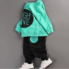 Bộ quần áo bé gái dài tay in hình HIGH FIVE thời trang – BG02 (Áo xanh – quần đen)