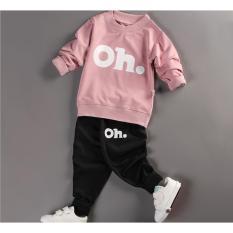 Bộ quần áo bé gái dài tay in hình OH thời trang – BG01 (Áo hồng – quần đen)