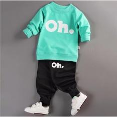 Bộ quần áo bé gái dài tay in hình OH thời trang – BG01 (Áo xanh lá – quần đen)
