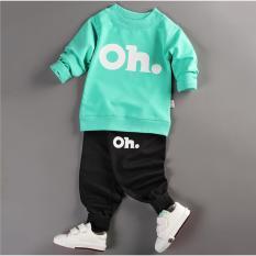 Bộ quần áo bé trai dài tay in hình OH thời trang ZAVANS – BT01 (Áo xanh lá – quần đen)
