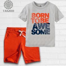 Bộ quần áo thun TAMOD bé trai màu xám in chữ sành điệu