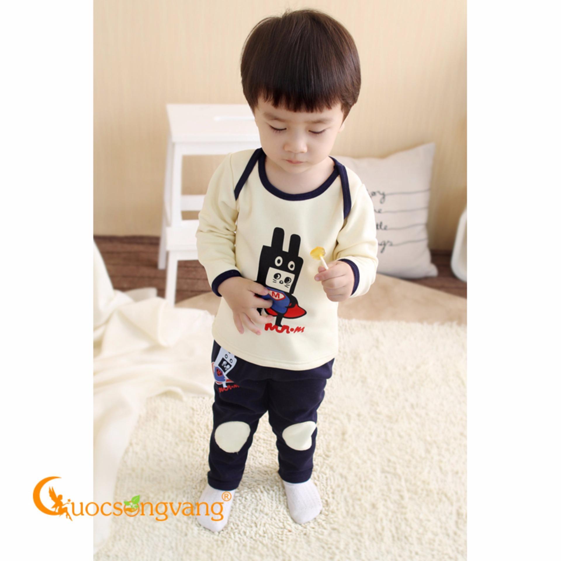 Bộ quần áo trẻ em lót lông bộ đồ trẻ em mùa đông GLSET024