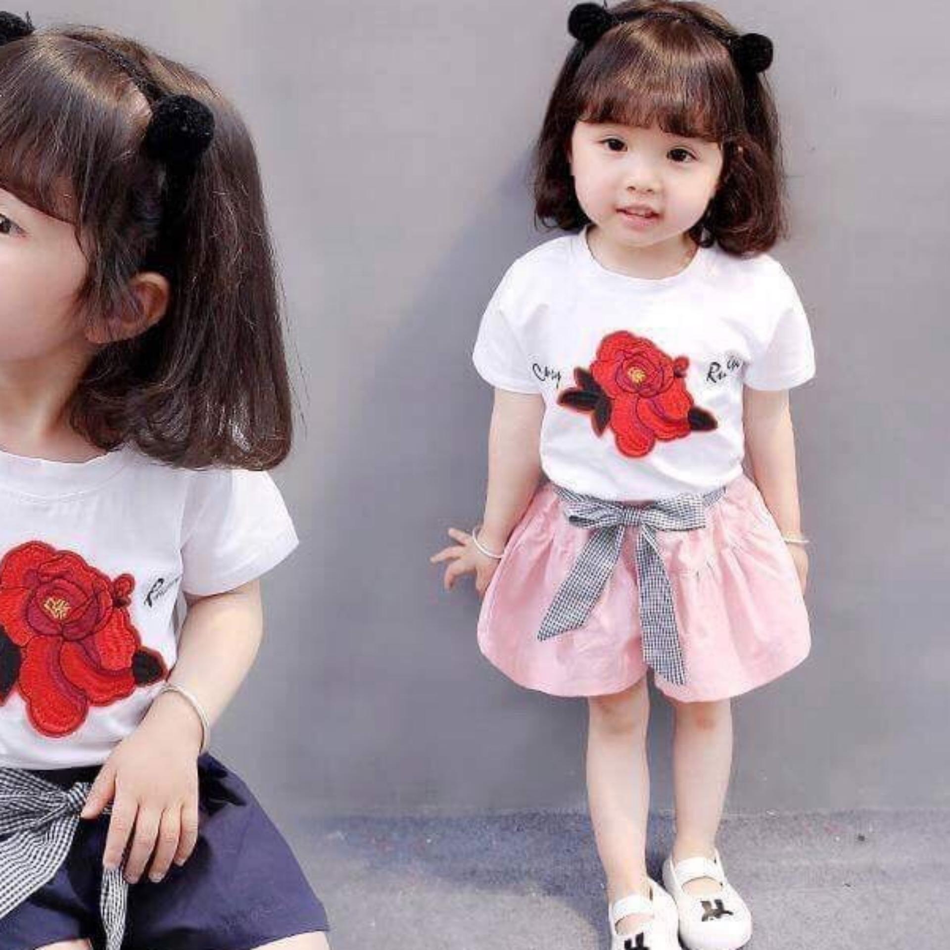 Bộ thun cotton hoa hồng( Xanh-Hồng) cho bé gái từ 10kg đến 25kg