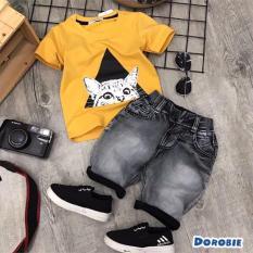 Bộ thun jean bé trai hình mèo 24-35kg
