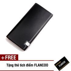 Bóp ví nam dài da PU Flancoo thời trang S0521 (Đen) + Tặng kèm thẻ tích điểm Flancoo