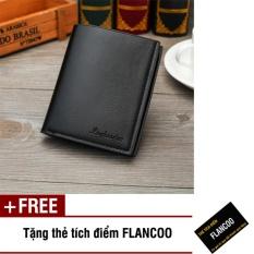 Bóp ví nam đứng da PU Flancoo 7871 (Đen) + Tặng kèm thẻ tích điểm Flancoo
