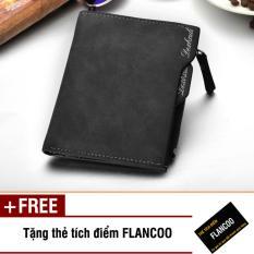 Bóp ví nam đứng da PU Flancoo S0201 (Đen) + Tặng kèm thẻ tích điểm Flancoo