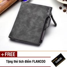 Bóp ví nam đứng da PU Flancoo S0203 (Xám) + Tặng kèm thẻ tích điểm Flancoo