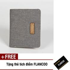 Bóp ví nam đứng vải bố Flancoo 7642 (Xám) + Tặng kèm thẻ tích điểm Flancoo