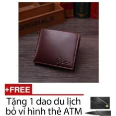 Bóp ví nam ngang da PU 7881 (Nâu) + Tặng kèm dao thẻ ATM