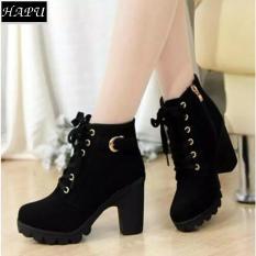 Giày boot nữ da lộn khóa kéo, khuy cài cổ HAPU – BNNK01 (đen)