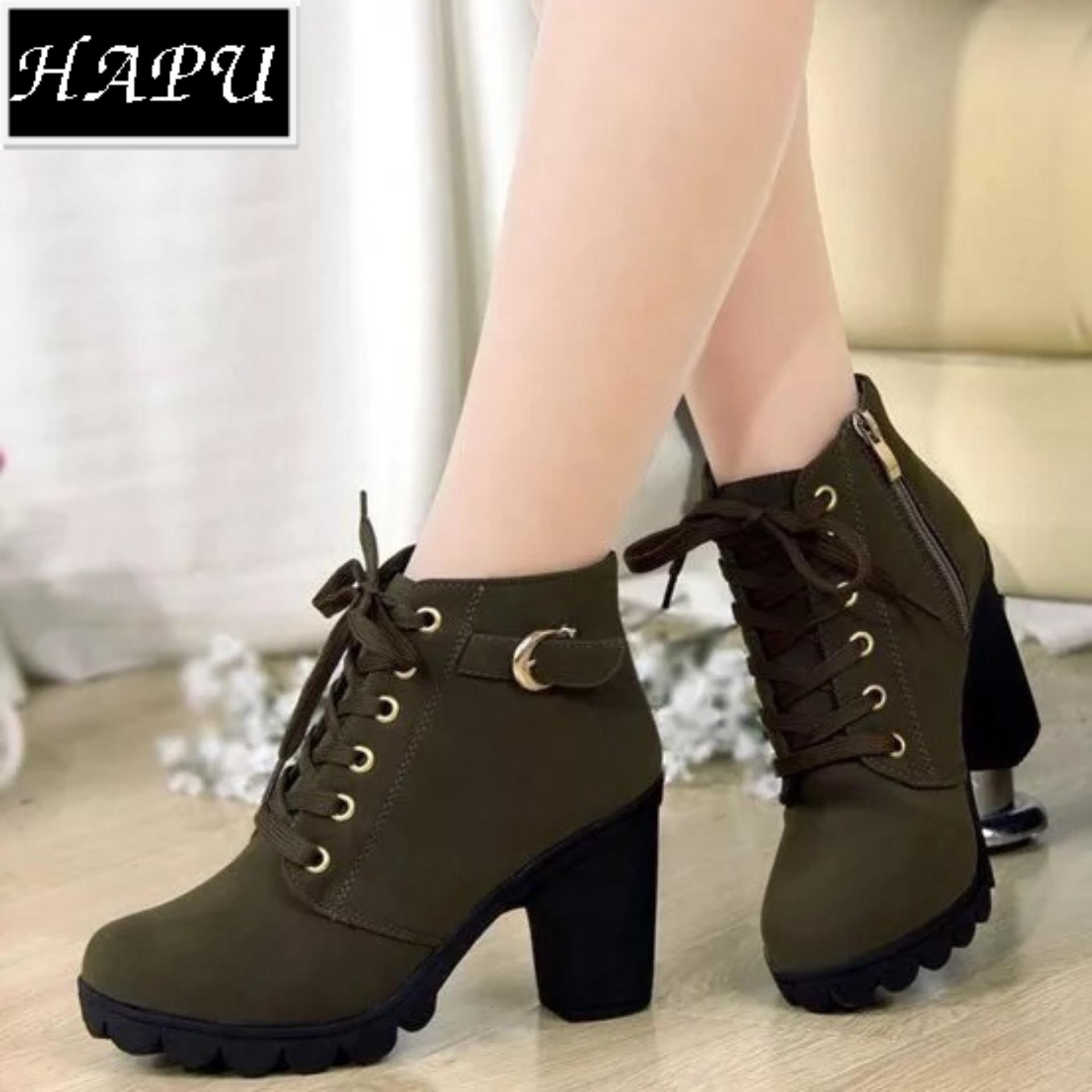 Giày boot nữ da lộn khóa kéo, khuy cài cổ HAPU - BNNK01 (xanh rêu)
