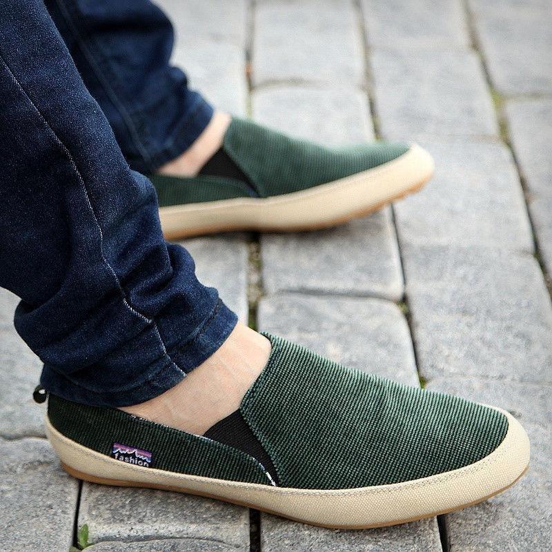 Britsh nam Vải Bố cho Chân Trên Loafer Mộc Zapato Thở Giày XANH LÁ-quốc tế