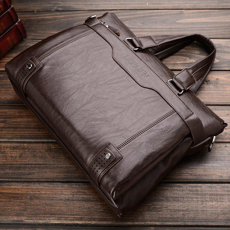 ... Business Men Shoulder Bag Messenger Bag Laptop Computer Oil Wax Cowhide Leather Briefcase Men's Tote Handbag ...