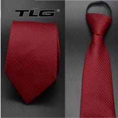 Cà Vạt Nam Bản Vừa Kéo Khóa TLG 248 7 (Đỏ) tặng móc khóa da thật cao cấp K 550