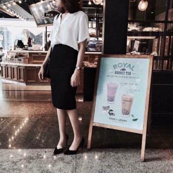 OE680FAAA943NAVNAMZ-18011158 - Chân Váy Bút Chì Ngang Gối Đơn Giản Miha Fashion Shop (màu đen)