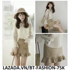 Chân Váy Ngắn Kaki Đuôi Cá Lưng Cao Thời Trang Hàn Quốc Mới - BT Fashion VA025 (Màu Kem)