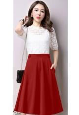Chân Váy Xòe Nana Cách Điệu Lưng / Đỏ