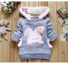 Children Clothing Cartoon Rabbit Fleece Outerwear Girl Fashion Clothes/hooded Jacket/Winter Coat Roupa Infantil – intl