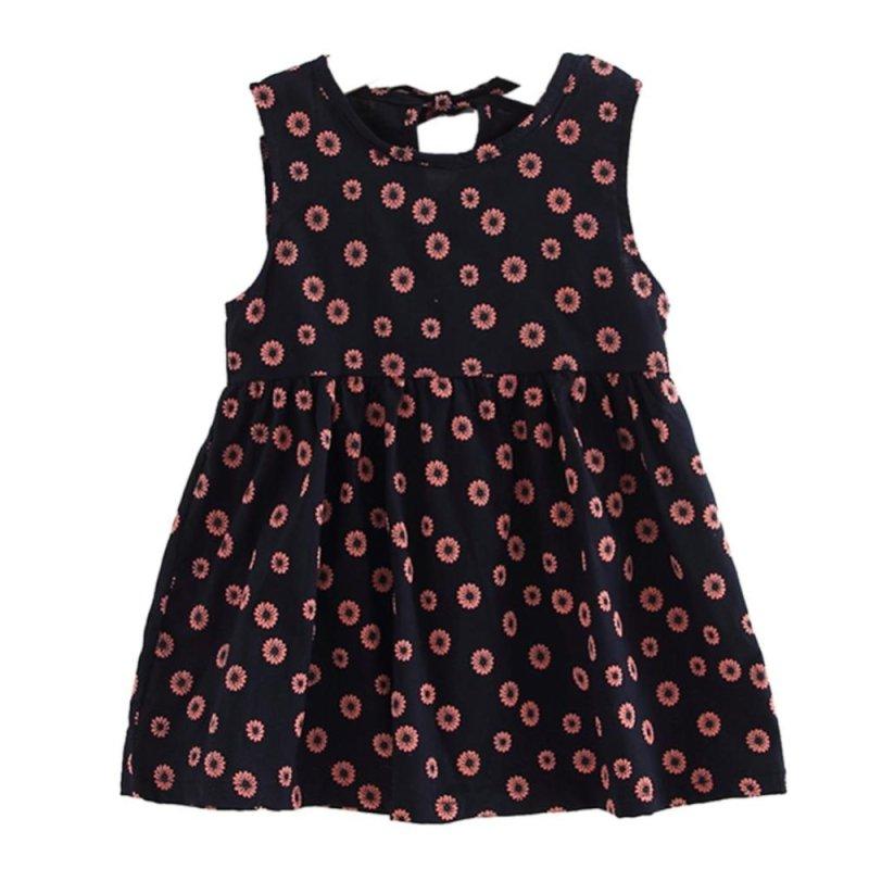 Giá bán Children Girls Lovely Soft Cotton Linen Fower Printed A-Line Sleeveless Dress - intl