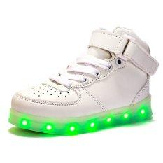 Giày trẻ em Thời Trang Đèn led của Cô Gái Cao Hàng Đầu Giày Giày Bé Trai-Màu Trắng-intl