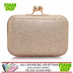 Clutch Cầm Tay Ánh Kim Pohan CL02 ( GOLD )- tặng ví khi mua 2 SP
