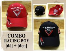 Combo 2 Nón Thế Thao Racing Boy 27 DESIGN Thời Trang K& T (Đen + Đỏ)