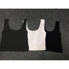 Combo 3 áo ba lỗ nữ croptop đen trắng xám